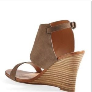 Halogen Clarette Suede Wedge Sandal, Taupe